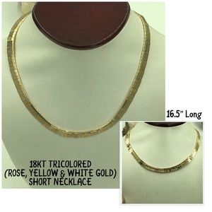 Jewelry - 18KT TRICOLOR Gold Short & Heavy Necklace 16.5""